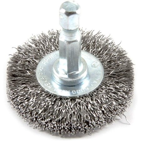 Forney 72726 Wire Wheel Brush, Fine Crimped with 1/4-Inch Hex Shank, 1-1/2-Inch-by-.008-Inch 2 Cavity Hex Crimp Tool