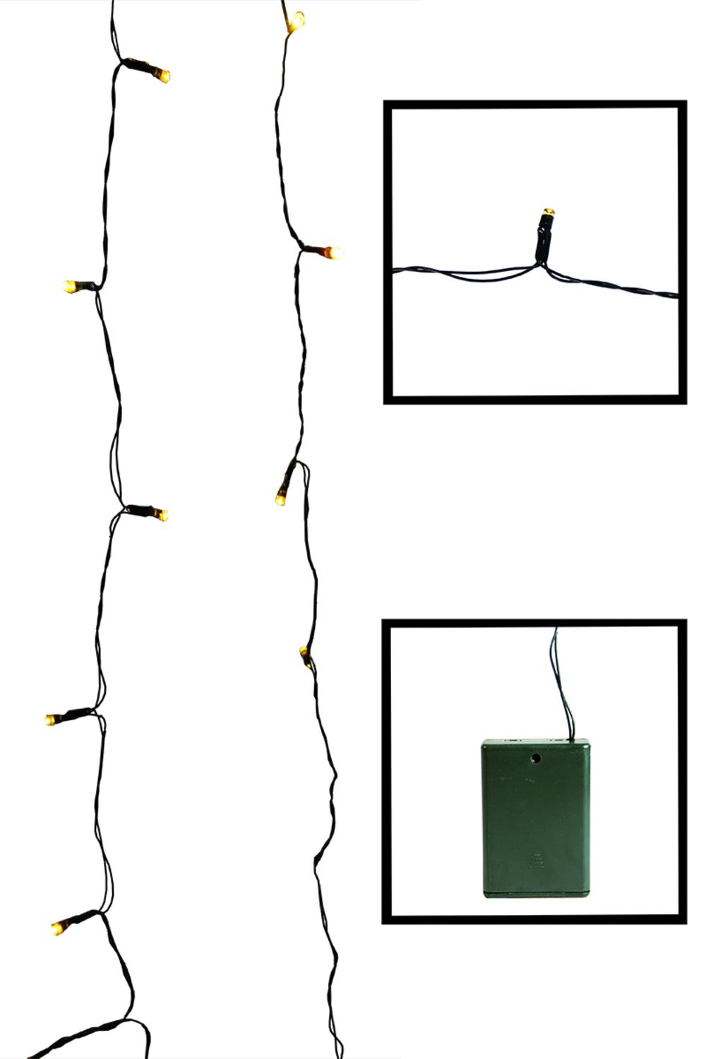 Set Of 20 Battery Operated Gold Led Wide Angle Christmas Lights Wiring Diagram X Mas Green Wire