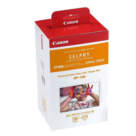 - Canon RP-108 4x6 Paper/Ink, 108 Sheets for SELPHY CP820, CP910, CP1200