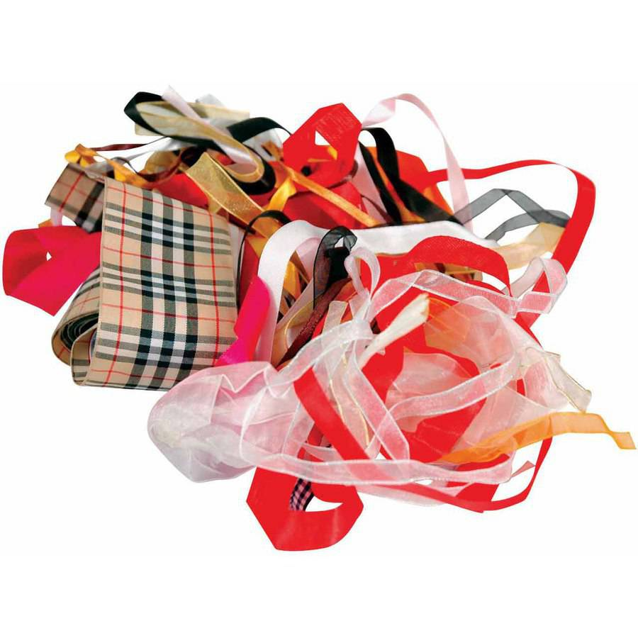 School Specialty Ribbon Remnants, 25 Yards, Assorted Sizes, Assorted Colors, Pack of 25