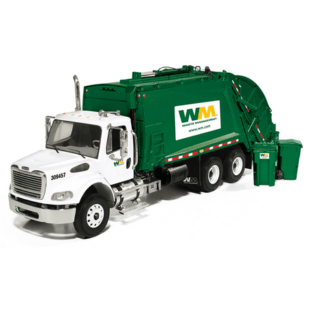 - Freightliner MR Rear Load Refuse Garbage Truck Waste Management With Bins Diecast Model 1/34 by First Gear