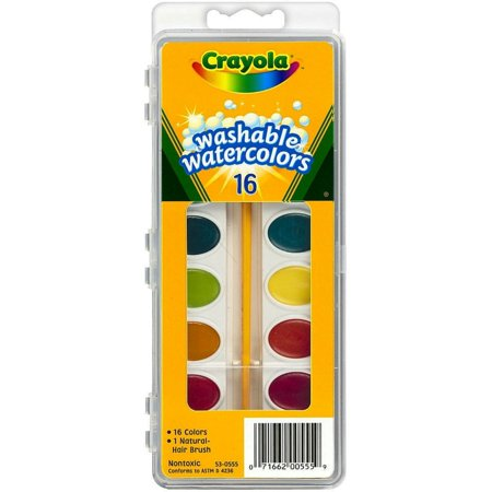 Crayola Washable Watercolor - Crayola Washable Watercolors Set, 16 Assorted Colors 1 ea (Pack of 2)