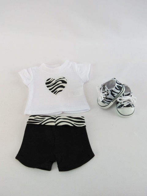 "Zebra Heart Short Set with Shoes #SW74 Fits 18"" American Girl Dolls, Madame... by"