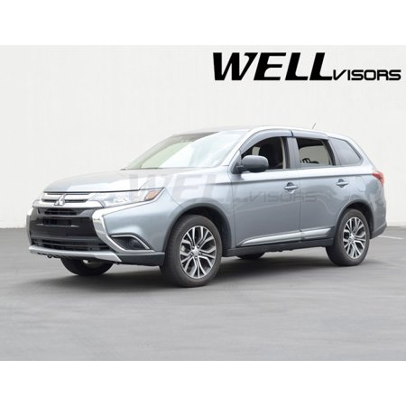 WellVisors Replacement for 2014-Present Mitsubishi Outlander Clip-ON Chrome Trim Smoke Tinted Side Rain Guard Window Visors Deflectors 3-847MI004