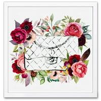 Wynwood Studio 'Purse in Bloom' Fashion and Glam Framed Wall Art Print - Red, Green