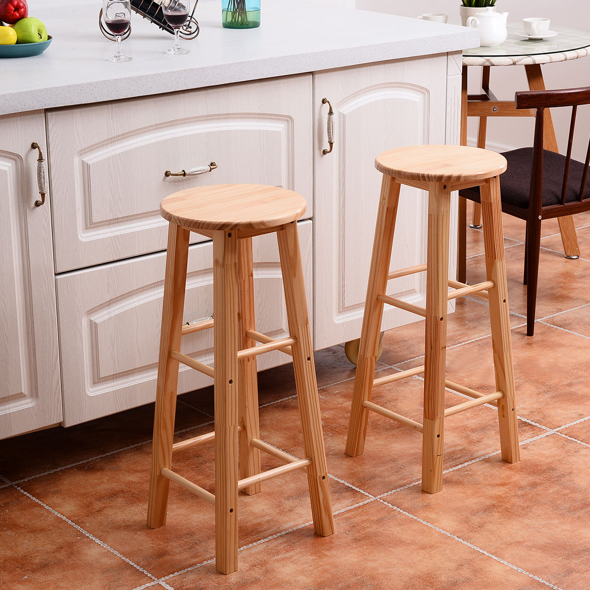 Costway Set of 2 Round 29'' Bar Stools Wood Bistro Dining Kitchen Pub Chair Furniture