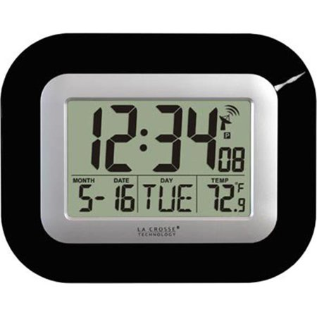 Atomic Digital Wall Clock with IN Temp and Date-Black ()