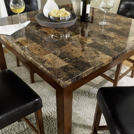 Dorel Living Andover 5-Piece Faux Marble Counter Height Dining Set ...