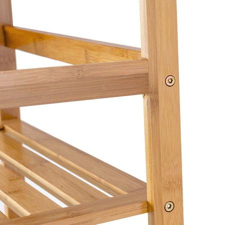 Costway Multifunctional 4 Shelf Bamboo Bookcase Ladder Plant Flower Stand Rack Storage