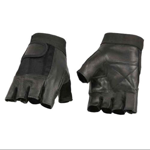 Milwaukee Leather Men's Leather Mesh Combo Fingerless Gloves, Black  (3XL) - 3X-Large SH217