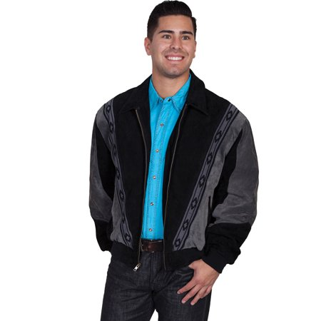Scully Leather Mens Black W/Dk Grey Boar Suede Rodeo Jacket 4X Men Gray Leather