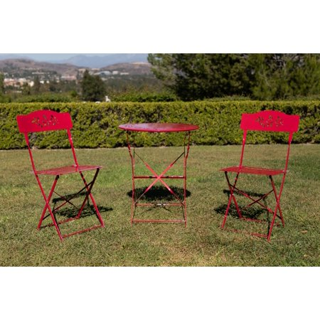 Alpine Metal 3-Piece Floral Bistro Set, 1 Table and 2 Chairs, Red, 28 Inch Tall ()