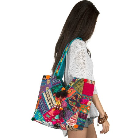Unique Women Boho Blue Colorful Tote Shoulder Bag Tassel Handbag Top Handle Beach Travel Bohemian