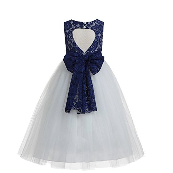 a8bd79423 Ekidsbridal - EkidsBridal Navy Blue Floral Lace Heart Cutout Flower ...