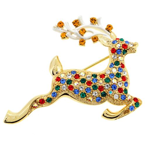 Fantasyard Goldtone Multi-colored Crystal Christmas Prancer Brooch