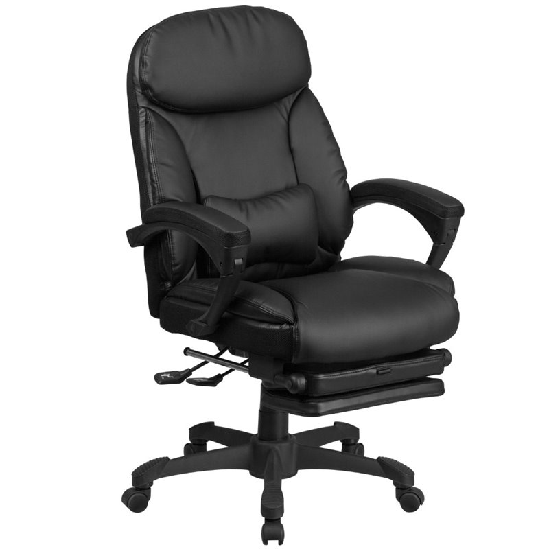 Kingfisher Lane Leather Reclining Office Chair in Black