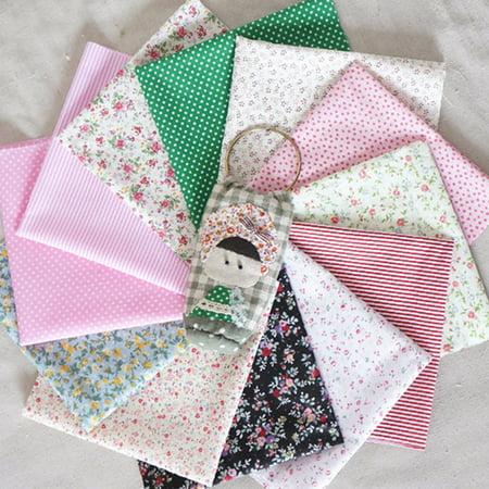 16Pcs Fashionable Cotton Fabric Bundles Fat Eighths Florals Gingham Spots Craft Patchwork Arts & Crafts Polycotton Material - Craft Materials