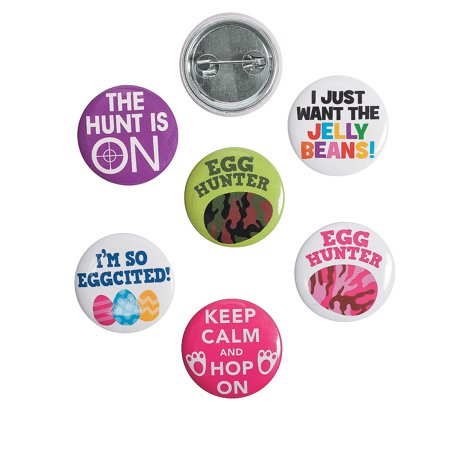 Fun Express - Easter Egg Hunt Mini Buttons for Easter - Jewelry - Pins -  Novelty Buttons - Easter - 48 Pieces