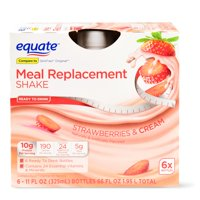 Equate Meal Replacement Shake, Strawberries & Cream, 66 Oz, 6 Ct