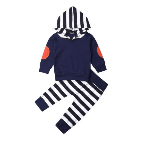 2PCS Toddler Baby Girl Clothes Ruffles T-shirt Stripe Pants Outfits Tracksuit