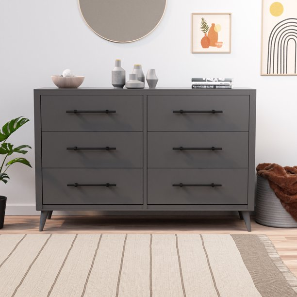 Rest Haven Mid-Century Modern 6 Drawer Dresser, Gray