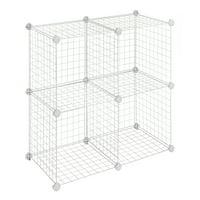 "Whitmor Storage Cubes Stackable Interlocking Wire Shelves - Set of 4 -White - 14.25"" x 14.5"" x 14.5"""