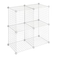 "Whitmor Storage Cubes Stackable Interlocking Wire Shelves - Set of 4 -White - 14.25"" x 14.5"" x 14.5"""