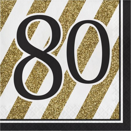 Creative Converting Black And Gold 80th Birthday Napkins, 16 ct - 80th Birthday Celebrations