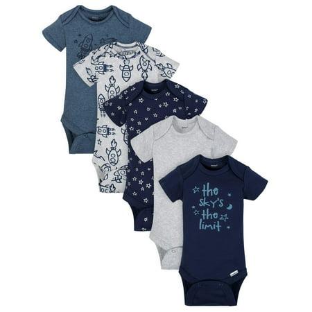 Organic Cotton Short Sleeve Onesies Bodysuits, 5pk (Baby