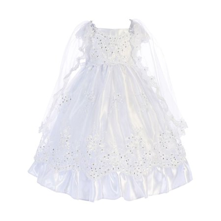 Angels Garment Little Girls White Satin Embroidered Organza Baptism Dress 3-5