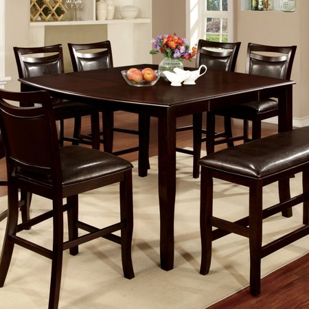 - Furniture of America  Clemmine Espresso Wood Counter-height Contemporary Extendable Table with 18-inch Leaf