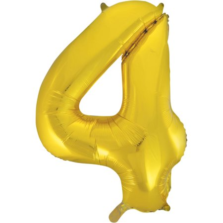 Gold Number Balloons (Foil Big Number Balloon, 4, 34 in, Gold,)