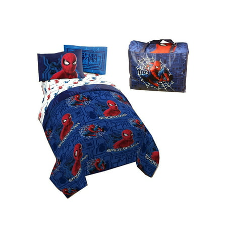 Spiderman Kids Twin Bed In A Bag 4 Pcs Bedding Set With A