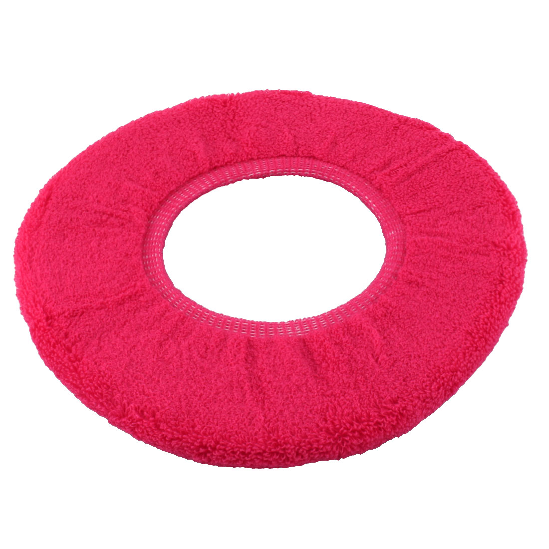 Unique Bargains Bathroom Polyester Fiber Round Closestool Toilet Seat Lid Cover Fuchia
