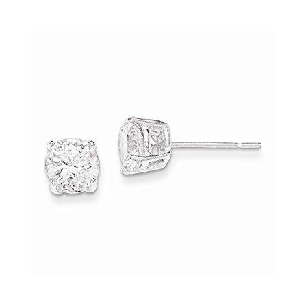 1825d3975 .925 Sterling Silver 6 MM Polished CZ Post Stud Earrings - Walmart.com