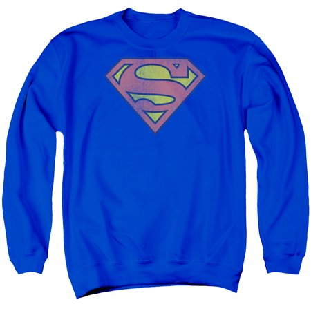 Superman DC Comics Logo Vintage Style Distressed Superhero Adult Crew (Distressed Vintage Sweatshirt)