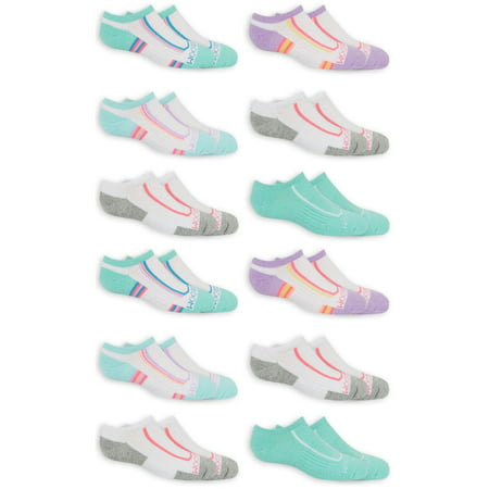 Fruit of the Loom Girls Socks 12 Pack No Show Active Flat Knit Tab, Sizes S- L