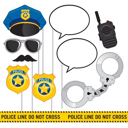 Police Party Photo Booth Props, 10 - Party Police