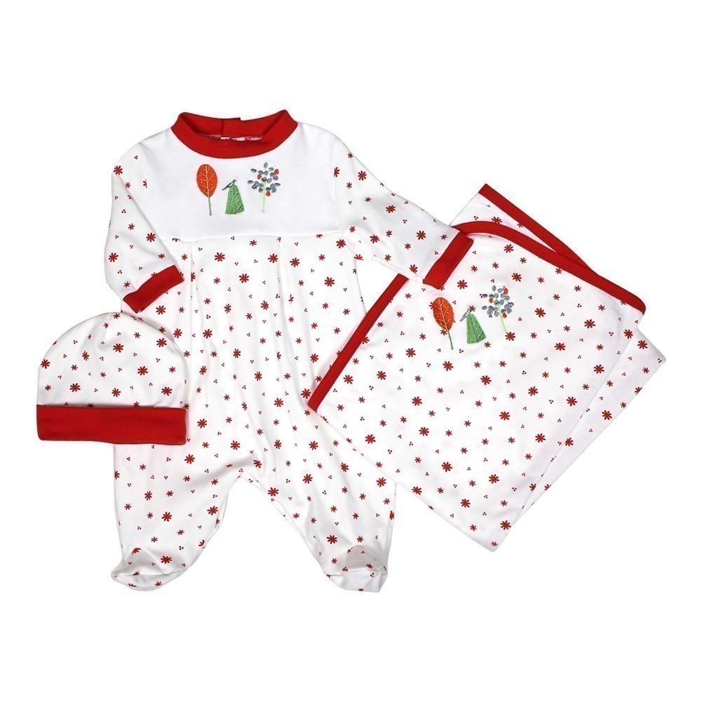 "Raindrops Unisex Baby Red Nature Footie Receiving Blanket Cap Set 28""-34"" by Raindrops"