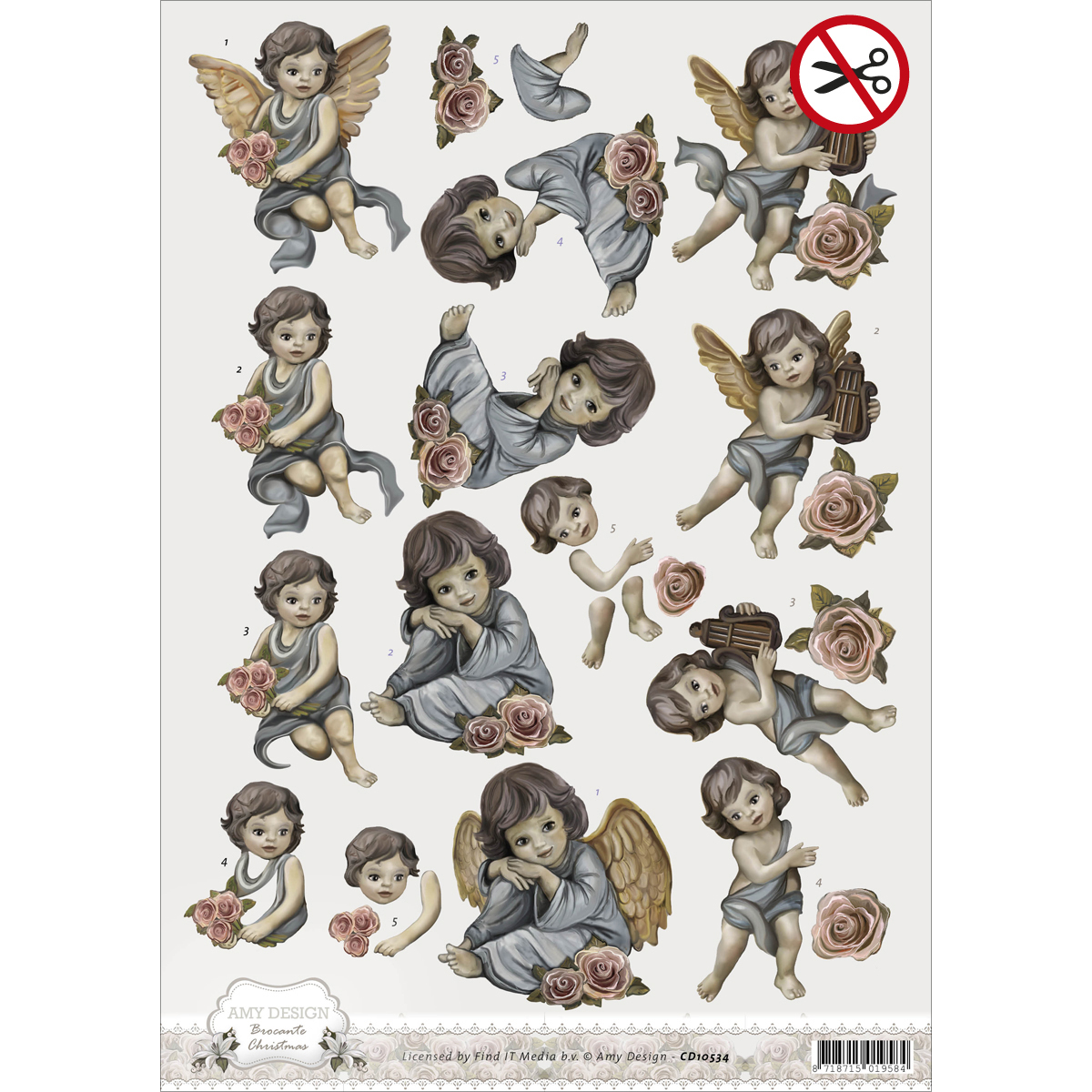 Find It Amy Design Brocante Christmas Punchout Sheet-Angels
