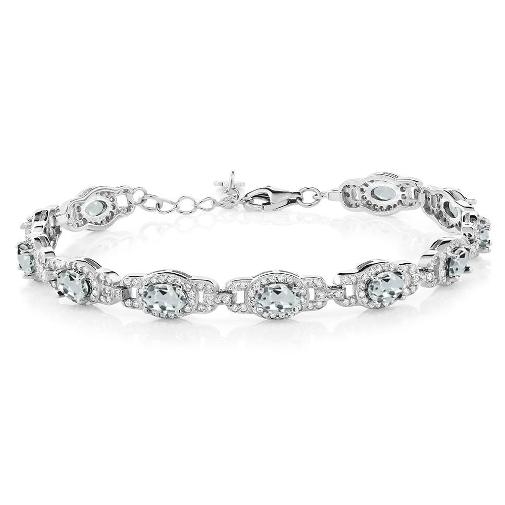 8.33 Ct Oval Sky Blue Aquamarine 925 Sterling Silver Bracelet by