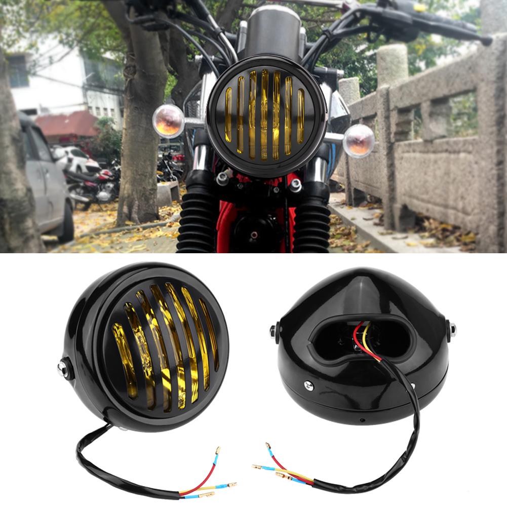 Yosoo 6 3 Inch Vintage Motorcycle Headlight Headlamp Grill Style