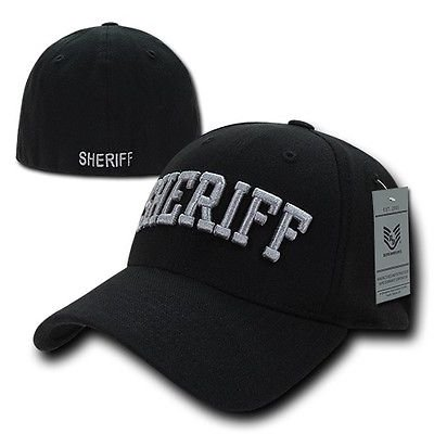 Black Sheriff Officer Cop Embroidered Flex Baseball Fit Fitted Ball Cap Hat S/M](Keystone Cop Hat)