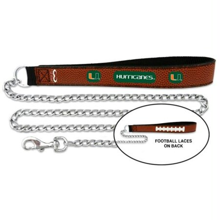 Miami Hurricanes Football Leather and Chain Leash - Large - image 1 de 1