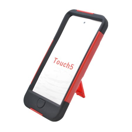 Itouch Silicone (EagleCell Hard Dual Layer Plastic Silicone Stand Case For Apple i-Pod Touch 6th Gen 5th Gen iTouch 6G 5G - Red/Black)
