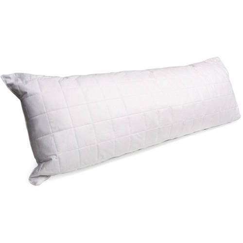 "Mainstays Quilted Cotton Cover Body Pillow in White 20""x 54"