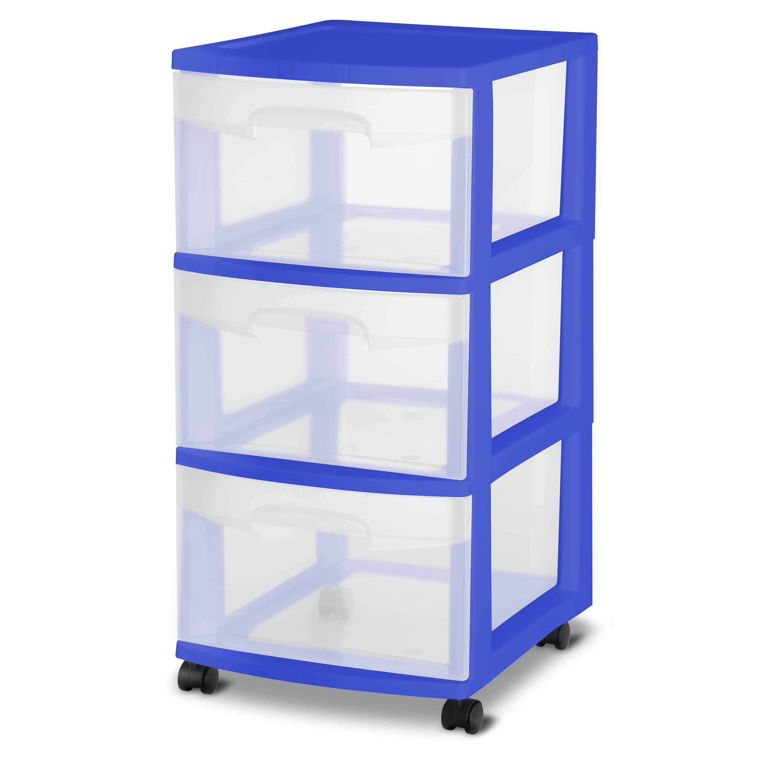 Sterilite 3 Drawer Medium Cart, Cobalt Crush, Case Pack of 2