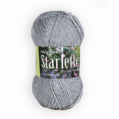 Mary Maxim Starlette Yarn - Light Grey - 100% Ultra Soft Premium Acrylic Yarn for Knitting and Crocheting - 4 Medium Worsted Weight