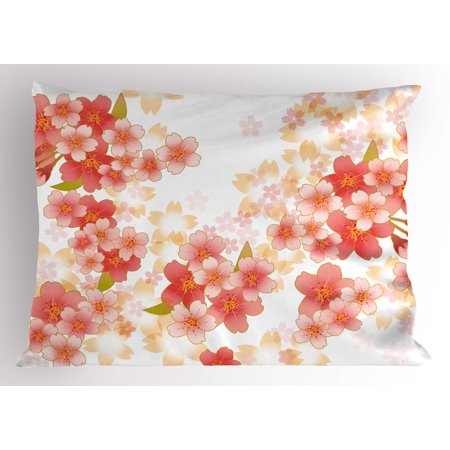 Floral Pillow Sham Japanese Sakura Flowers Cherry Blossoms in Vibrant Colors Illustration, Decorative Standard King Size Printed Pillowcase, 36 X 20 Inches, Coral Dark Coral Yellow, by Ambesonne