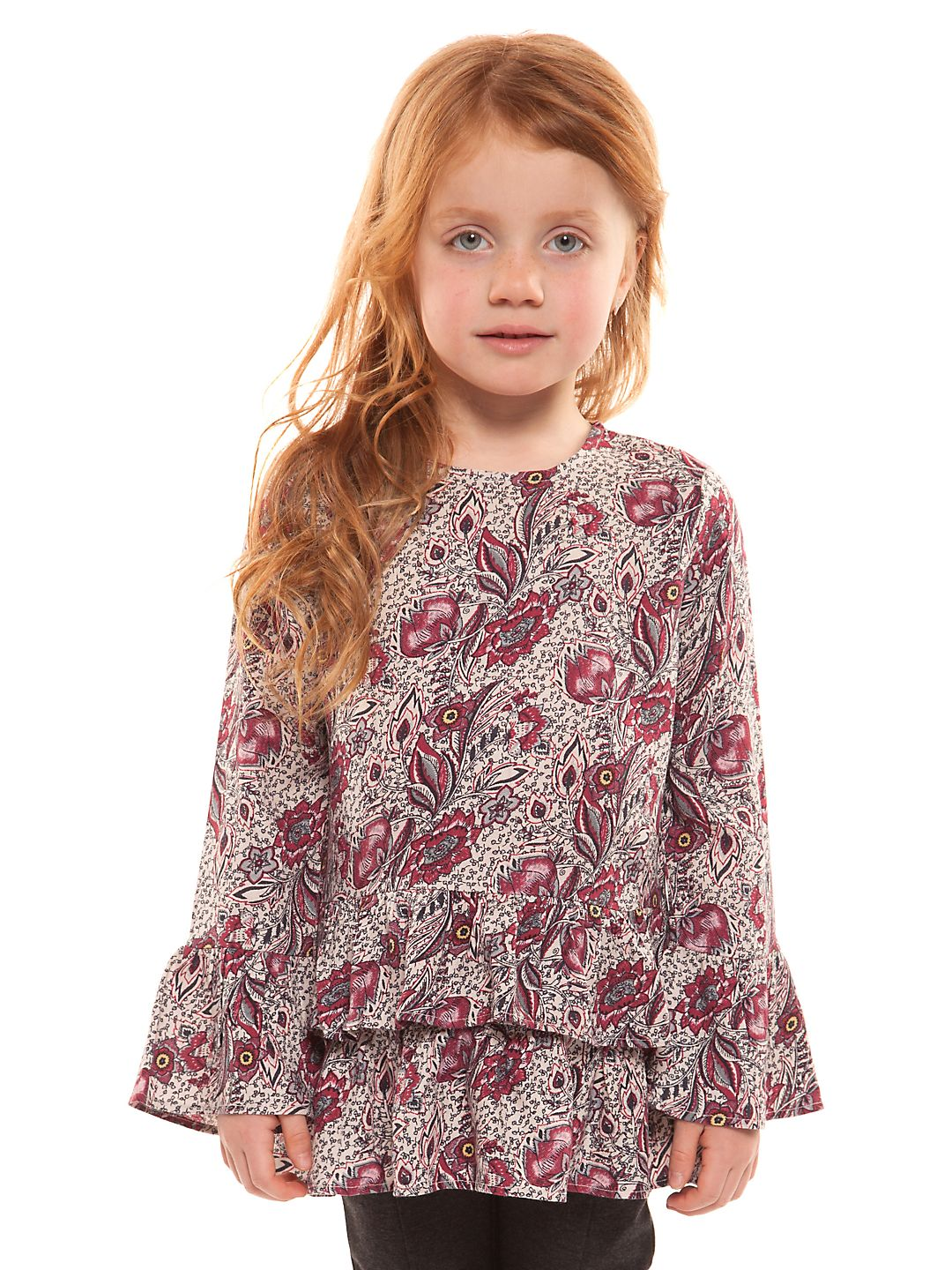 Little Girl's Printed Bell-Sleeve Top